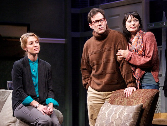 WHAT YEAR IS IT?: (From left) Elyse Mirto as Leigh Hodges, Joseph Fuqua as Bruce Wagner, and Julie Granata as Jayne Wagner in Carey Crim's strangely dated new drama, <em>Conviction</em>.