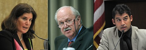 <b>TOUCHY TALK: </b> (from left) Supervisor Janet Wolf, Goleta Mayor Michael Bennett, and Assemblymember Das Williams will sit down in the near future to discuss the city's controversial tax-sharing deal with the county.