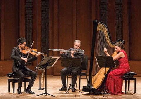 <b>THE EYE OF NIGHT:</b> Pictured from left, Richard Yongjae O'Neill, Adrian Spence, and Bridget Kibbey summon the mystery of the night in a series of nocturnes by David Bruce.