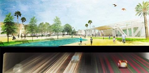 Conceptual view of the parkland above and Highway 101 running through a proposed tunnel through Ventura
