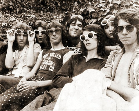 <b>LOUD: </b> The Lance Loud Band circa 1973 was (front row, from left) Kristian Hoffman, Jay Dee Daugherty, Collert, and Kevin Loud and (back row, from left) Michele, Lance, and Delilah Loud.