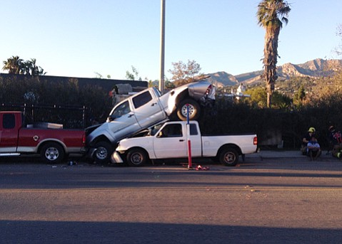 Aftermath of accident near Garden and Yanonali streets.