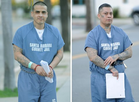 Christian Botello (left) and Marcial Garcia leave the courthouse after sentencing (Dec. 22, 2014)