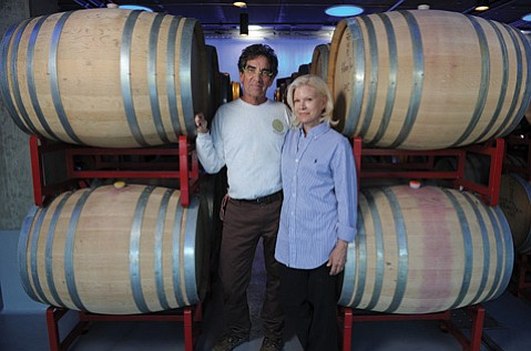 <b>POWER PAIR:</b>  John Hilliard and Christine Bruce opened their impressive glass, stone, and metal winery just off Highway 246 just in time for the 2014 harvest.