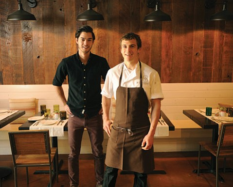 <b>YOUNG GUNS:</b> Though barely out of college, Barbaraeño co-owners chef Julian Martinez (right) and general manager Jesse Gaddy are putting an impressively history-soaked spin on regional cuisine.