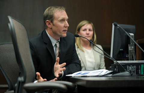 Water boss Joshua Haggmark discusses rate increases at Tuesday's city council meeting.
