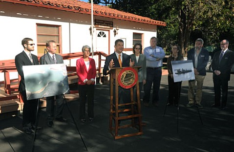 <b>Repping:</b>  Das Williams and Hannah-Beth Jackson were showered with praise for helping Santa Barbara's drought woes.