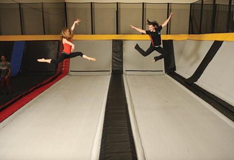 <b>HIGH-FLYING: </b>Jenna Tatham (left) and Amy Richardson show their jumping talent at the Goleta trampoline club Cloud 10.