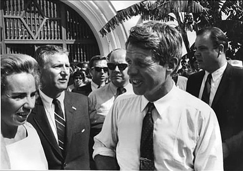 Stanley Schwartz (in the striped tie), with Ethel and Robert Kennedy during a campaign visit to Santa Barbara in 1968.