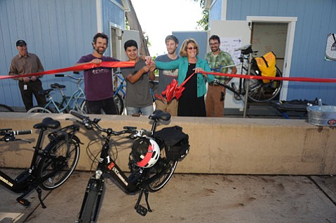 Ribbon cutting at Bici Centro's new satellite location at SBCC (Feb. 9, 2015)