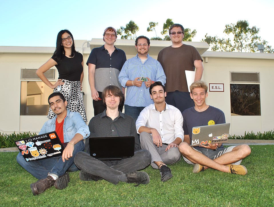 SBCC students who won top awards at SB Hacks include (front row, left to right) Nidhal Selmi, Colin Allen, Zack Feinn, Russ Fenenga; and (back row, left to right) Ashley Cortez, John Michael Bachmann, Tyler Hall, and Jon Steelsmith.