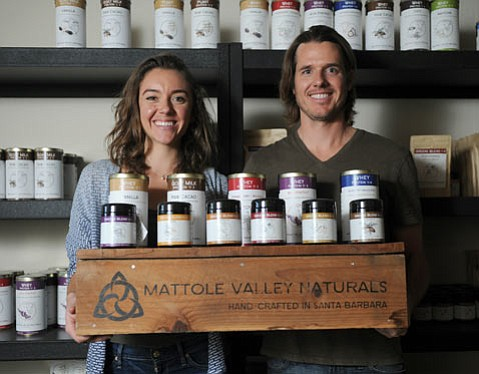 """<b>AU NATUREL:</b>  """"I like to think of ourselves as mixologists, as bartenders for health powders,"""" said Blaine Lando (right), head of Mattole Valley Naturals. The company's product is based on nearly four decades of nutritional alchemy by his dad, Dr. Barre Paul Lando, and creates uber-healthy concoctions, from herbal blends to protein powders. Maressa Garner (left) serves as the administrative director."""