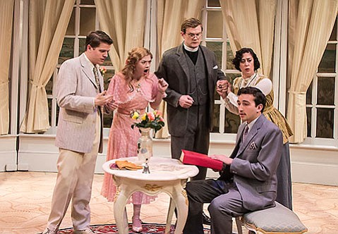 <b>ARMY LISTS CONSULTED:</b>  The denouement of <i>Earnest</i> featured cast members (from left to right) Adrian Carter, Alison WIlson, Ian Elliott, Avila Reese, and Zachary Macias (seated).