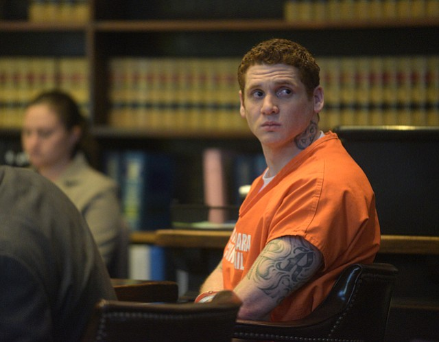Ryan Christopher Zietlow-Brown listens to victim impact testimony before being sentenced to 22 years in state prison for the crimes of attempted murder and mayhem. (Feb. 24, 2015)