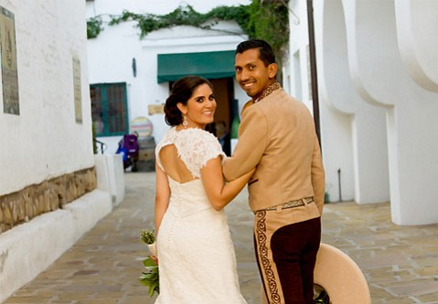 Cynthia and Leo Torres celebrate their nuptials near their Casa de la Guerra wedding reception location. The Santa Barbara couple's September wedding paid tribute to both the bride and groom's Mexican heritage.