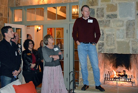 <b>TWO-WHEELED WISDOM:</b>  John Burke, president of Trek Bicycle Corporation, speaks during a recent fundraiser at his house.