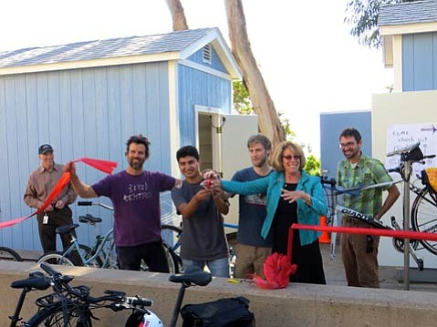 The new SBCC bike shop hosted a grand opening with Mike Veerger (at left in purple T), Sergio Garcia, Kevin McClintock, Lori Gaskin, and Ed France.