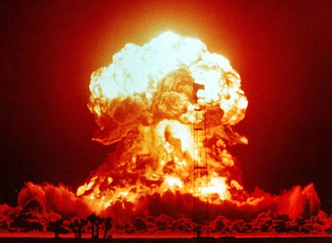 A nuclear explosion at the Nevada Test Site.