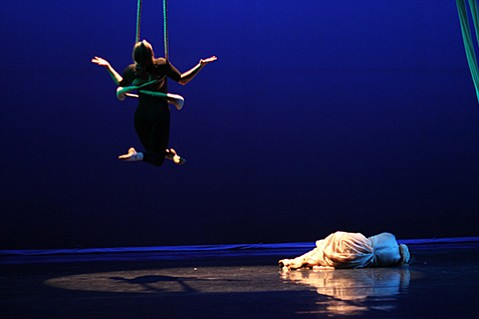 <b>RISE ABOVE:</b>  Aerialists Sophia Phillips (left) and Magalie Lanriot performed at last year's inaugural Floor to Air Festival. The second installment of the fest will conclude with a public performance at the Lobero Theatre on March 20.