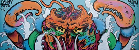 """<b>NOW YOU SEE IT ...:</b>Danny Meza's """"Heike Crab"""" is one of many large-scale murals on view at the GONE Gallery's current streetart- centric group show, Made You Look."""