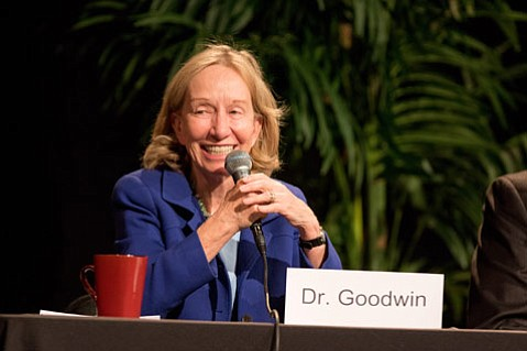 <b>PRESIDENTS' EMINENCE:</b> The presidents Roosevelt, Lincoln, and Johnson formed part of Doris Kearns Goodwin's entertaining talk at Westmont's President's Breakfast on Friday.