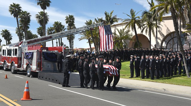 A celebration of life for firefighter Dan Corrigan  at the Fess Parker Doubletree (Mar. 13, 2015).