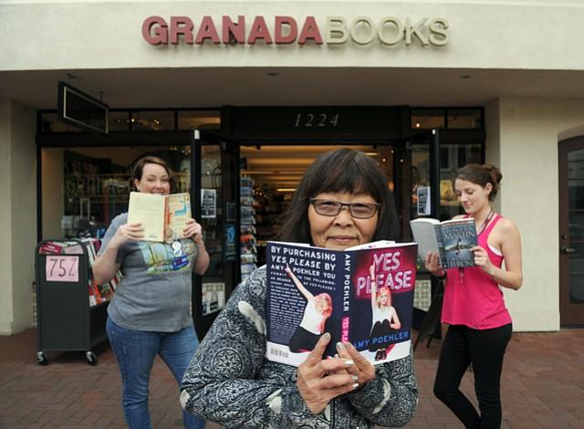 Left to Right: Granada Books' Ellen B. Jue, co-owner Sharon Hoshida, and Braylie Kent