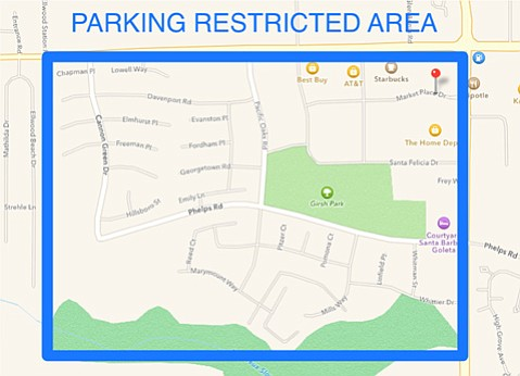 Map shows Goleta area with restricted parking during Deltopia 2015.