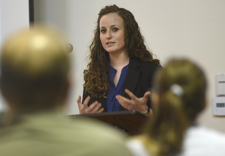 Jessica Farris speaks during a Prop 47 meeting (April 8, 2015)