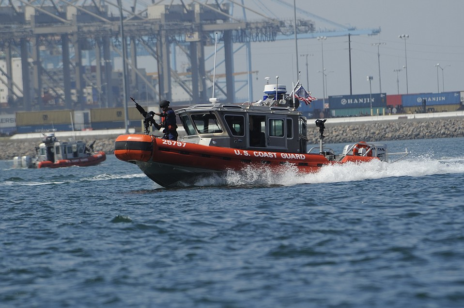 A patrol boat with the Maritime Safety & Security Team out of the U.S. Coast Guard's Los Angeles-Long Beach base