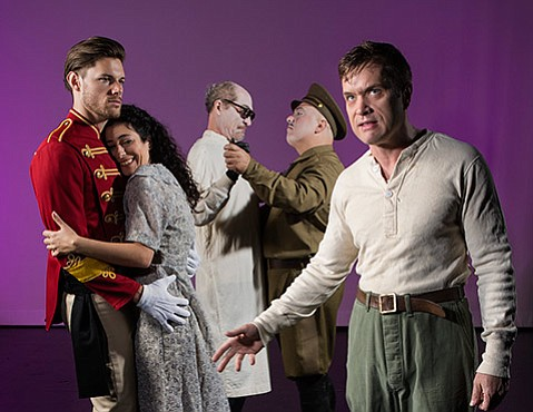 <b>STAGE FRIGHT:</b>  Stephen Van Dorn (left) stars as Woyzeck and Matt Gottlieb as the Doctor who experiments on him in ETC's <i>Woyzeck</i>.
