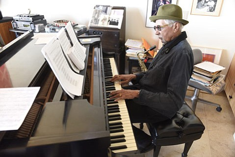 """<b>'CITO CAT:</b>  Pictured here at his home in Montecito, saxophonist Charles Lloyd comes to the Lobero this Tuesday, April 28. """"I like playing here at home,"""" said Lloyd of his upcoming show. """"The people who are inviting us—they care. It's like that."""""""