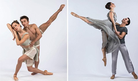 """<b>COME TOGETHER:</b> Dancers drawn from three different companies will perform works by choreographers Edgar Zendejas (whose <i>Four Seasons</i> work is shown on the left) and William Soleau (at right, his """"Canvas"""")."""