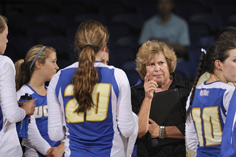 <b>GAUCHO GLORY:</b>  Kathy Gregory (right) coached the UCSB women's volleyball team for 38 seasons, compiling a record of 882-412 and leading it into 26 consecutive NCAA tournaments in one span. She will be inducted into the Athletic Round Table Hall of Fame on Monday, May 18, in a ceremony at the La Cumbre Country Club.