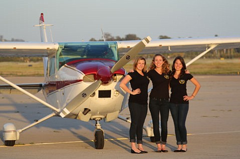 <b>FRIENDLY SKIES:</b>  Santa Barbara pilots (from left) Topaz Grabman, Jessie Davidson, and Aravni Khachikians will leave town on June 15 to enter the all-female, cross-country Air Race Classic on June 22. They'll stop at Girls Inc. chapters along the way to stoke dreams of young aspiring pilots.
