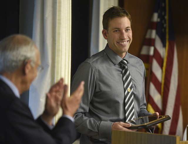 Bill Cirone announces Brandon Sportel the 2016 Santa Barbara County Teacher of the Year. (May 14, 2015)