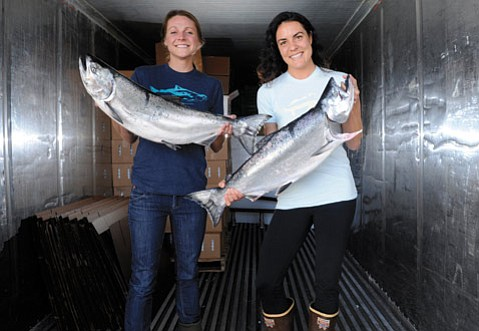 <b>FISH IS FUN:</b> Salty Girls Laura Johnson (left) and Norah Eddy ensure their products are truly eco-friendly.
