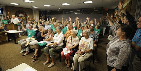 <b>Standing Room Only:</b> Carpinteria City Hall was packed to the gills Monday with project opponents.
