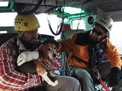 Emergency response crews rescued a stranded Vermont man and his beagle, Bunny, from the Los Padres National Forest on Thursday morning.