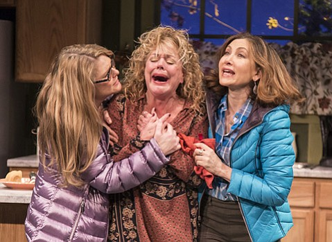 <strong>LAUGHING LADIES: </strong> Heather Ayers (left) owns the New Vic stage in ETC's current comedic production. The play also stars DeeDee Rescher (center) and Annabelle Gurwitch (right).