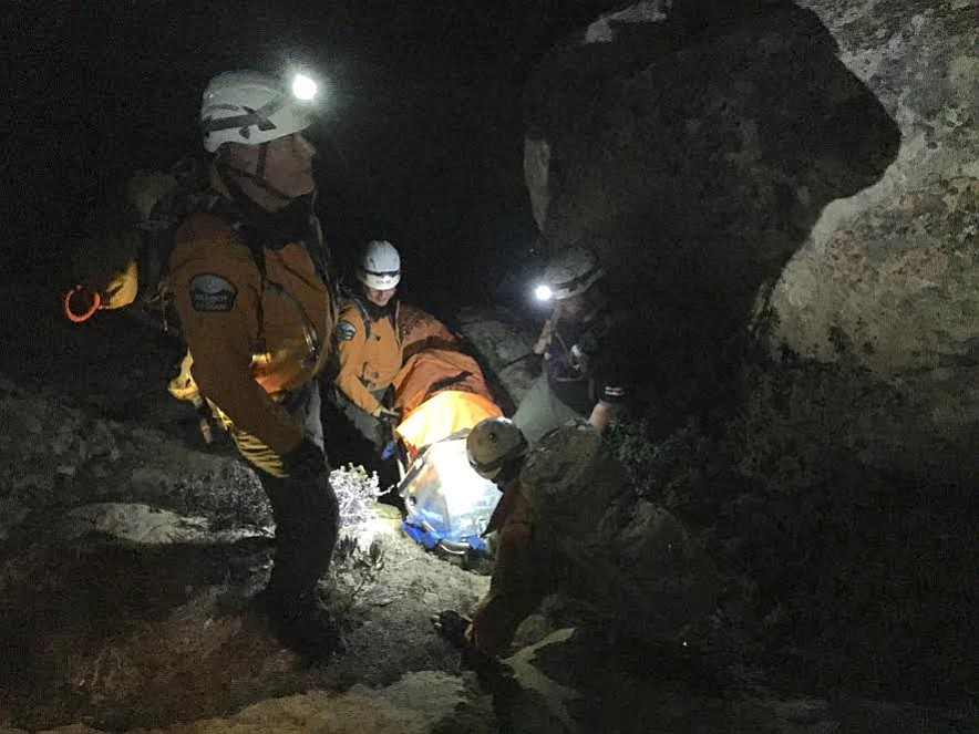 On Saturday night, Santa Barbara County Search and Rescue (SBCSAR) Team members and county firefighters carried an injured hiker to safety from the Lizard's Mouth trail.
