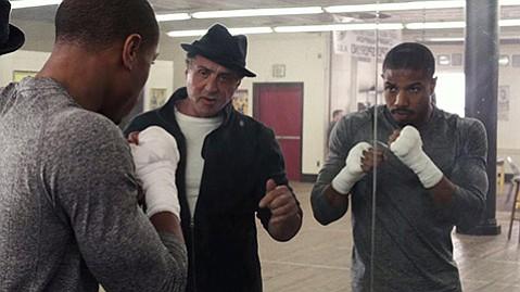 <b>EYE OF THE TIGER:</b>  Michael B. Jordan (left) plays the son of Apollo Creed opposite Sylvester Stallone as Rocky Balboa.