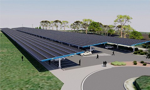 New solar arrays, like this one set for the parking lot near Harder Stadium, should lower UCSB's greenhouse gas emissions by 6 percent by the end of 2016.