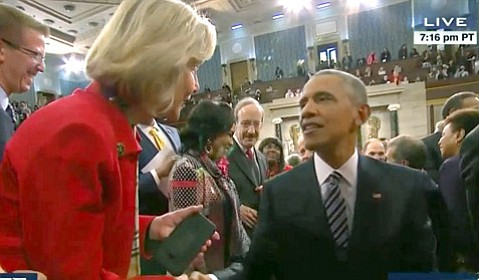 <strong>LOIS AND POTUS:</strong>  Congressmember Lois Capps reaches out to President Barack Obama after the State of the Union speech. For both, it would be their last.