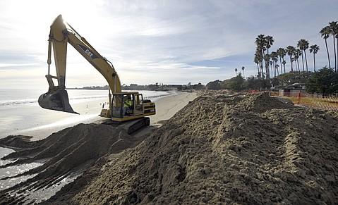Winter storm preparation continues at Goleta Beach Park.