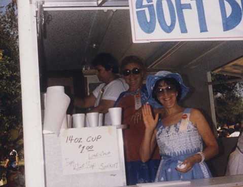 <strong>HABIT FORMING:</strong> After sparking the Greek Festival in 1973, Helen Stathis continued to support it, pictured at right with her sisters-in-law Mary (left) and Helen Stathopoulos (center) in the soft-drink trailer at the 1984 festival.
