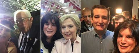 Janet Wolf self-photographed with Bernie Sanders (left), Hillary Clinton, and Ted Cruz in Iowa.
