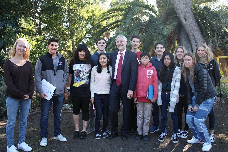 German Consul General, Hans Jörg Neumann, fielded questions on the refugee crisis from Anacapa School students on Wednesday.