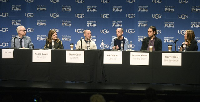 """SBIFF 2016 """"Movers and Shakers"""" Producers Panel (L to R)  moderated by Los Angeles TimesÕ Glenn Whipp, featuring Finola Dwyer (BROOKLYN), Steve Golin (SPOTLIGHT),  Ed Guiney (ROOM), Jeremy Kliner (THE BIG SHORT), and Mary Parent (THE REVENANT). (Feb. 6, 2016)"""