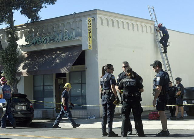 An argument over sunglasses escalated into a stabbing outside the Sportsman midday on Wednesday.